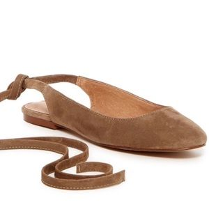 Madewell April Ankle Wrap Flat in Otter 8.5 NWT